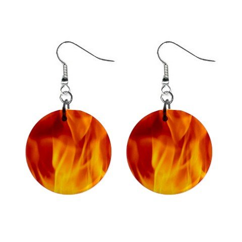 Firing Flames Dangle Earrings Jewelry 1 inch Buttons 12185378