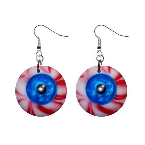 Blood Shot Red Balls Dangle Earrings Jewelry 1 inch Buttons 12191474