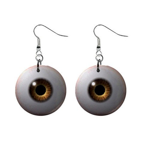 Brown Eyes Dangle Earrings Jewelry 1 inch Buttons 12191679