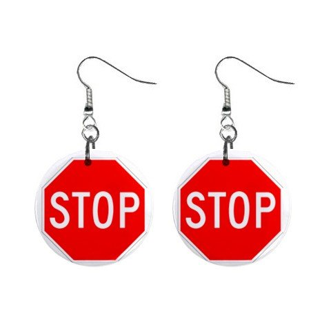 Stop Sign Dangle Earrings Jewelry 1 inch Buttons  12196764