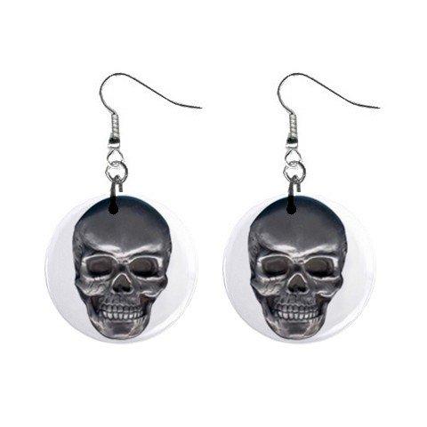 Silver Skull Dangle Earrings Jewelry 1 inch Buttons 12203742