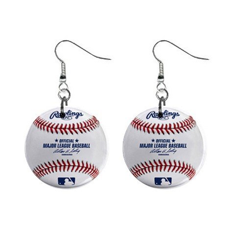 Rawlings Baseball Dangle Earrings Jewelry 1 inch Buttons 12207848