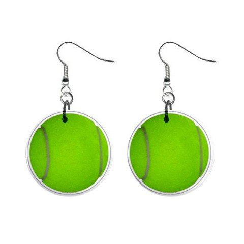 Green Tennis Ball Dangle Earrings Jewelry 1 inch Buttons 12207872