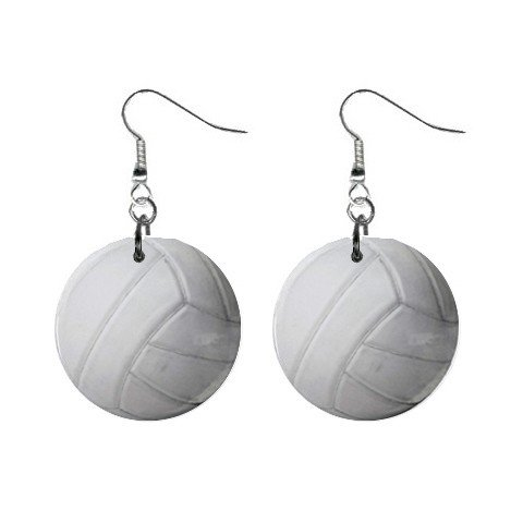 Volleyball Dangle Earrings Jewelry 1 inch Buttons 12207875