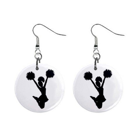Cheerleader Pom Pom Girl Dangle Earrings Jewelry 1 inch Buttons 12224984