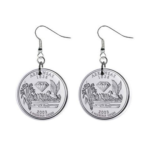 Arkansas State Quarter Dangle Earrings Jewelry 1 inch Buttons 12302753