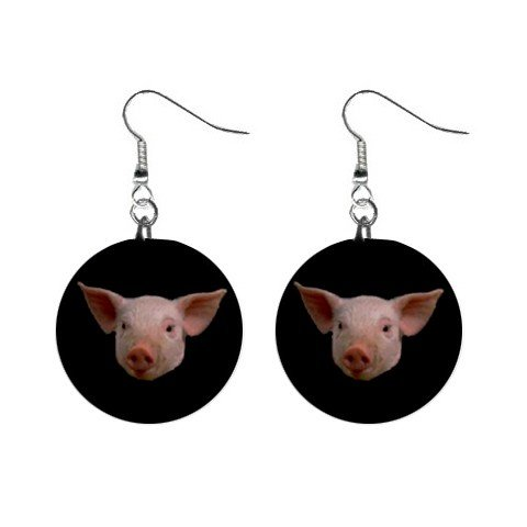 Pig Face Dangle Earrings Jewelry 1 inch Buttons 12225245
