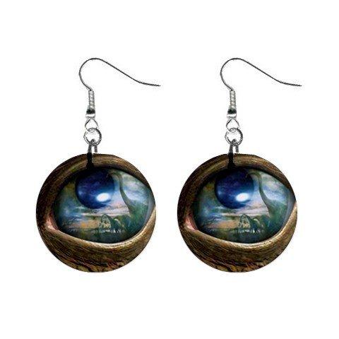 Dinosaur Eye  Dangle Earrings Jewelry 1 inch Buttons 12236488