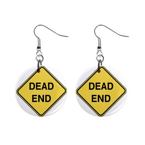 Dead End Road Sign Dangle Earrings Jewelry 1 inch Buttons 12240156