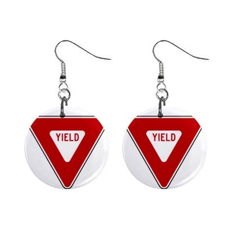 YIELD Road Sign Dangle Earrings Jewelry 1 inch Buttons 12240169