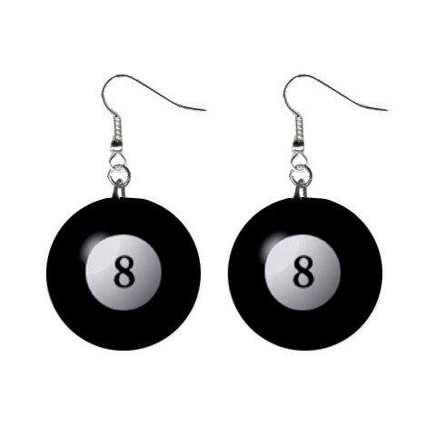8 Ball Billard Pool Dangle Earrings Jewelry 1 inch Buttons  12240171