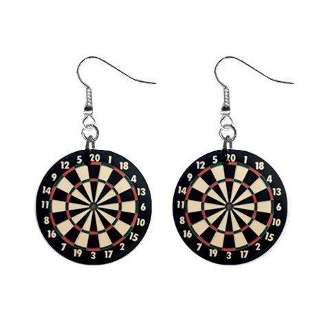Dart Board Dangle Earrings Jewelry 1 inch Buttons 12240173