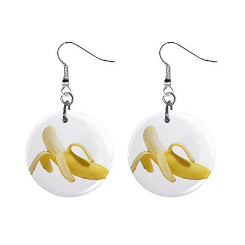 Peeled Banana Dangle Earrings Jewelry 1 inch Buttons 12240243