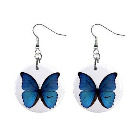 Blue Butterfly Dangle Earrings Jewelry 1 inch Buttons 12240244