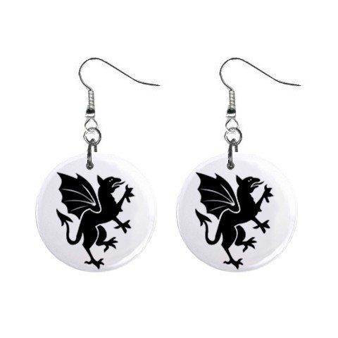Black Dragon Dangle Earrings Jewelry 1 inch Buttons 12240262