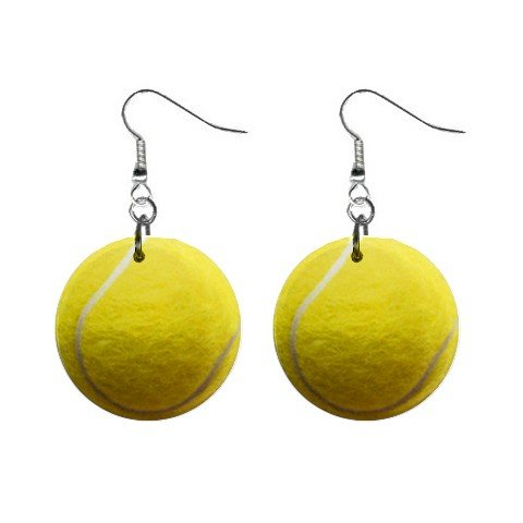 Yellow Tennis Ball Dangle Earrings Jewelry 1 inch Buttons 12207873