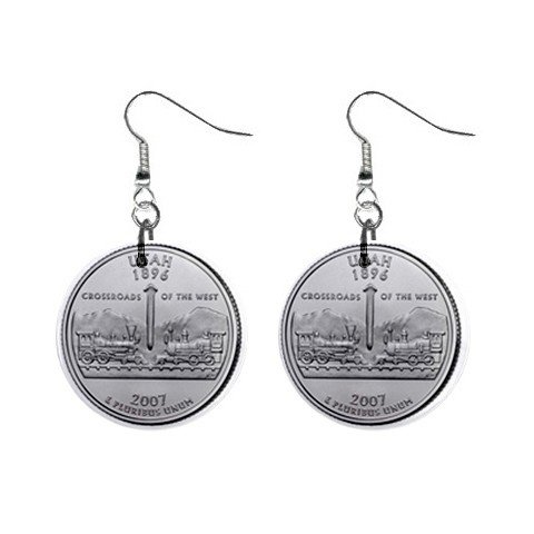 Utah State Quarter Dangle Earrings Jewelry 1 inch Buttons12302757