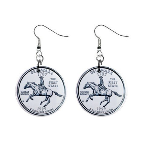 Delaware State Quarter Dangle Earrings Jewelry 1 inch Buttons 12302749