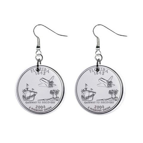 Florida State Quarter Dangle Earrings Jewelry 1 inch Buttons 12302748