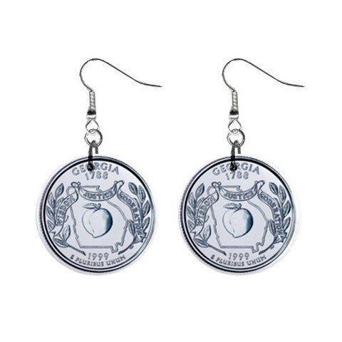 Georgia State Quarter Dangle Earrings Jewelry 1 inch Buttons  12302747