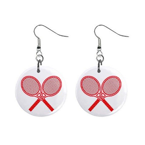 Tennis Racket Rackets Dangle Earrings Jewelry 1 inch Buttons 12207874