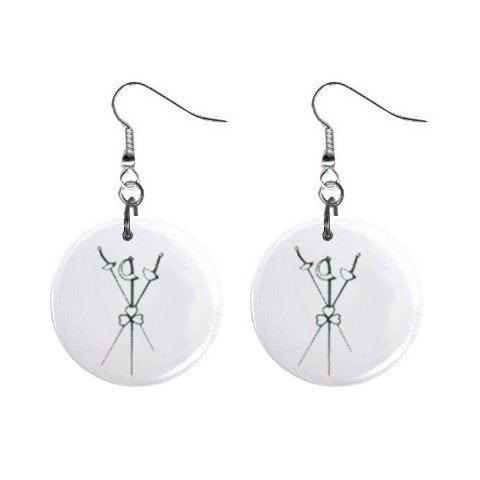 Fencing Dangle Earrings Jewelry 1 inch Buttons 12247253
