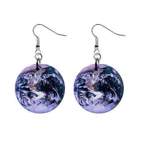 Dark Earth Dangle Earrings Jewelry 1 inch Buttons 12247274