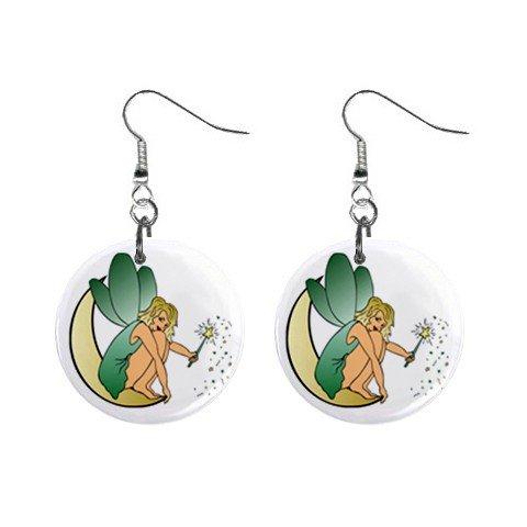 Fairy Sitting on Moon Dangle Earrings Jewelry 1 inch Buttons 12247279