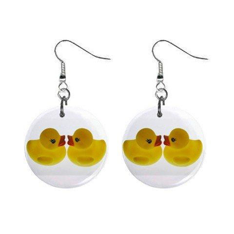 Rubber Ducky Duckies Duck Dangle Earrings Jewelry 1 inch Buttons 12247286