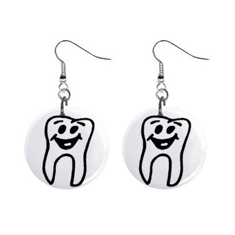 Happy Tooth Dentist Dental Dangle Earrings Jewelry 1 inch Buttons 12249699