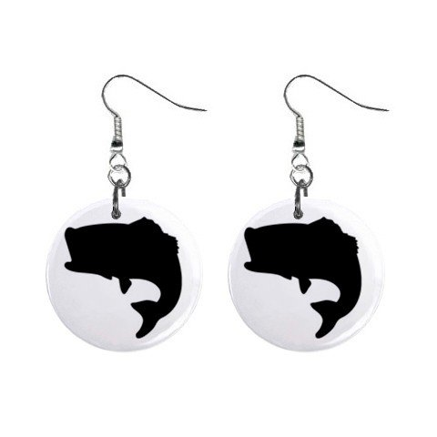 Bass Fish Silhouette Dangle Earrings Jewelry 1 inch Buttons 12304845