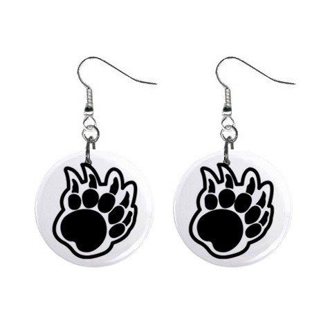 Bear Paw Print #2  Dangle Earrings Jewelry 1 inch Buttons 12304848