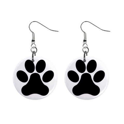 Dog Paw Print Dangle Earrings Jewelry 1 inch Buttons 12304849