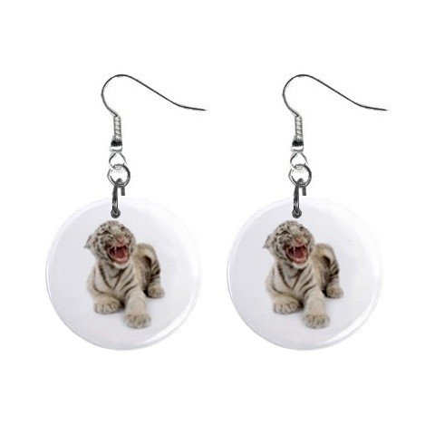 White Tiger Cub Dangle Earrings Jewelry 1 inch Buttons 12304852