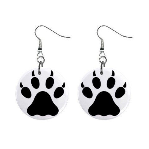Wolf Paw Print Dangle Earrings Jewelry 1 inch Buttons 12304853