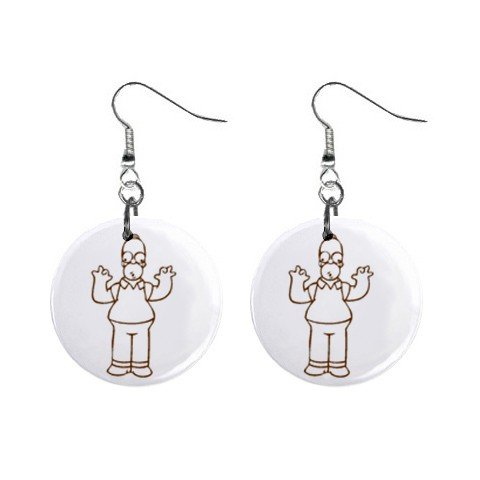Homer Simpson Dangle Earrings Jewelry 1 inch Buttons 12304854