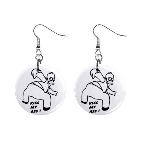 Homer Simpson Kiss My Ass Dangle Earrings Jewelry 1 inch Buttons 12304855
