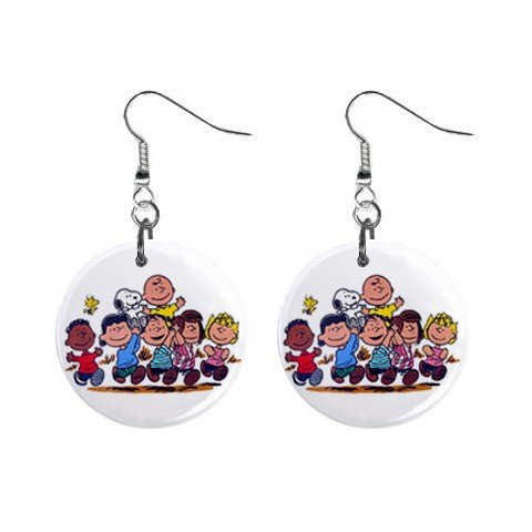 Peanuts - Snoopy, Charlie Brown and the Gang Dangle Earrings Jewelry 1 inch Buttons 12304859