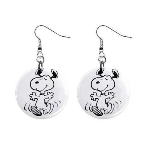 Snoopy Dancing Dangle Earrings Jewelry 1 inch Buttons 12304860