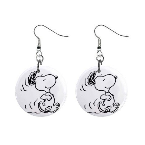 Snoopy Running Dangle Earrings Jewelry 1 inch Buttons 12304863