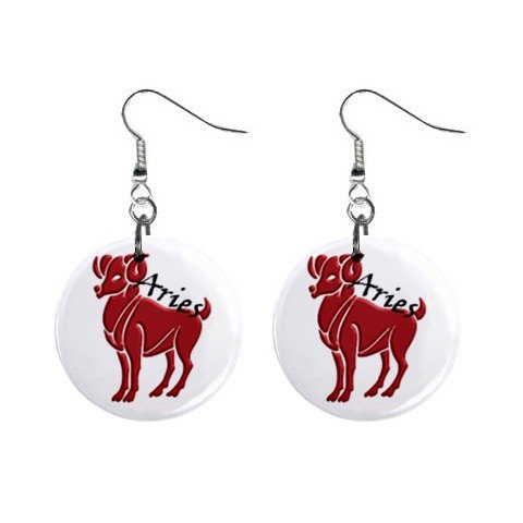 Zodiac Sign Aries Dangle Earrings Jewelry 1 inch Buttons 12176337