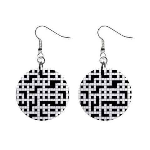 Crossword Puzzle Dangle Earrings Jewelry 1 inch Buttons 12176315