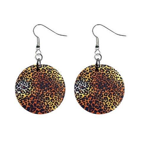 Leopard Print Dangle Earrings Jewelry 1 inch Buttons 12176321