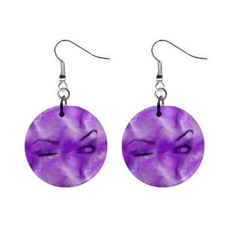 Purple Eyes Dangle Earrings Jewelry 1 inch Buttons 12176324