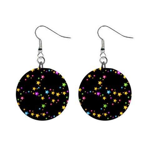 Starry Night Stars Dangle Earrings Jewelry 1 inch Buttons 12176325
