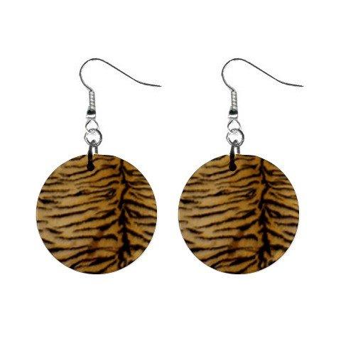 Tiger Fur Dangle Earrings Jewelry 1 inch Buttons 12176333