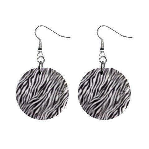 Zebra Pattern Print Dangle Earrings Jewelry 1 inch Buttons 12176335