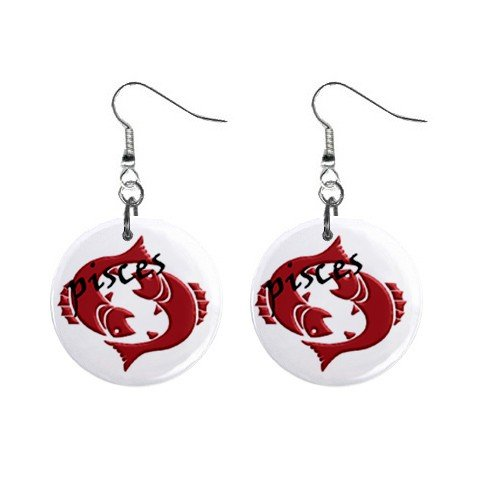 Zodiac Sign Pisces Dangle Earrings Jewelry 1 inch Buttons 12176346