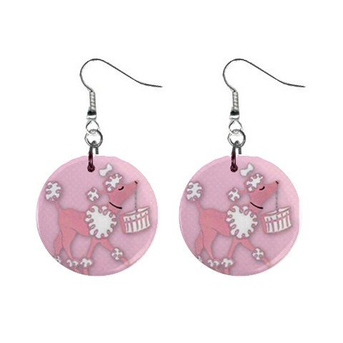 Pink Poodle 50's look Dangle Earrings Jewelry 1 inch Buttons 11968365