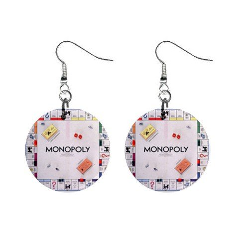 Monopoly Board Game Dangle Earrings Jewelry 1 inch Buttons 12305908